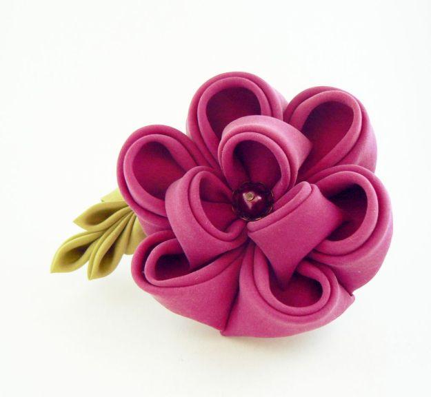 Floare bujor violet opal matase clama par kanzashi