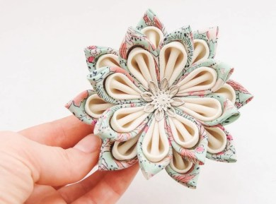Large blue and white silk fabric lily handmade kanzashi flower