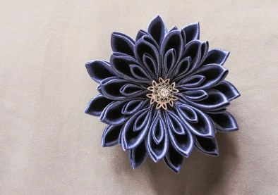 tutorial crizantema mare floare kanzashi satin 15