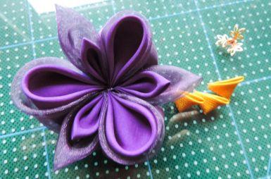 Tutorial floare de iris matase organza - petalele asamblate