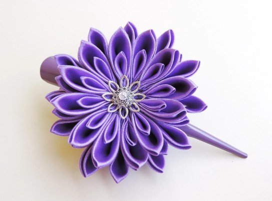 Lilac purple satin chrysanthemum - DIY tutorial