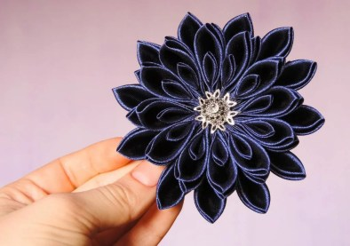 Kanzashi chrysanthemum original tutorial step by step