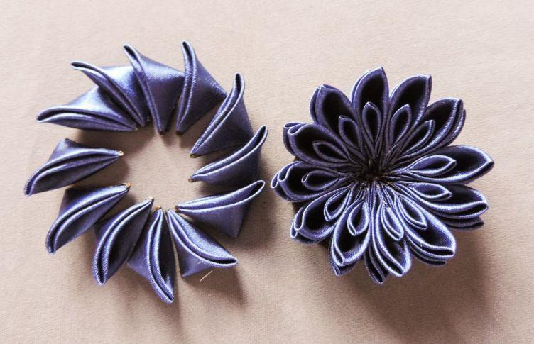 Kanzashi chrysanthemum original tutorial 9