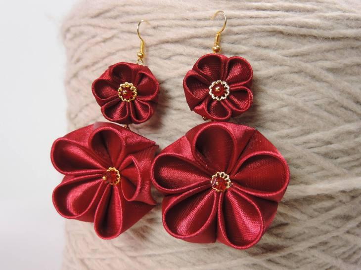Fabric flower earrings - dark red double flowers