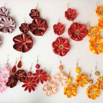 Many fabric flower earrings