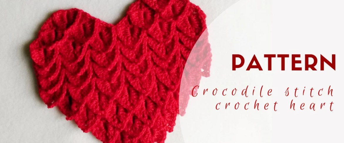 crochet crocodile stitch heart pattern featured image