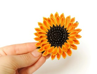 Medium sunflower with black seed beads embroidery