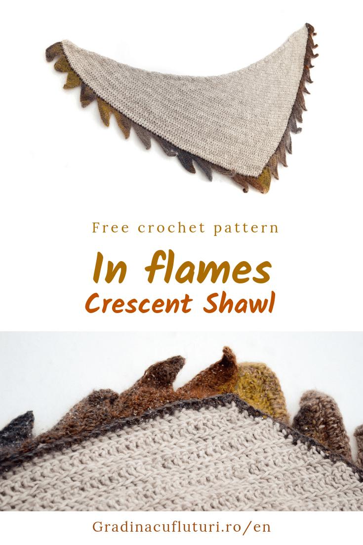 In flames Crochet Crescent Shawl Pinterest