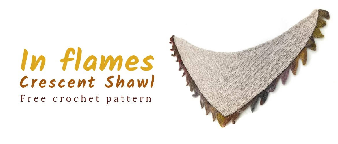 Free In flames Crochet Crescent Shawl cover