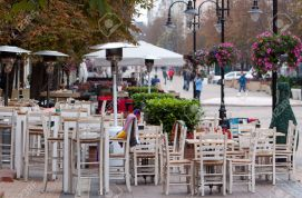 Cafe tables are seen in pedestrian street in Sofia, Bulgaria.