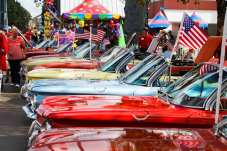 A row of Chevrolet Corvair cars line up on display at the Georgia National Fair in Perry, Georgia, on Saturday, October 10, 2015. (Photo/Savanna Sturkie, ssturkie@uga.edu)