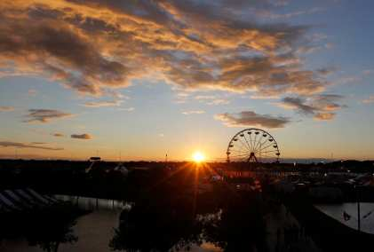The sun sets at the Georgia National Fair in Perry, Georgia, on Saturday, October 10, 2015. (Photo/Heather Fulbright, heatherfulbright@gmail.com)