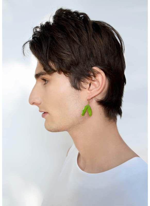 A model poses for finished product of Lenny Murr's Green Leaf earring. (Photo Courtesy/Lenny Murr)