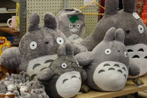 Totoro dolls inside Paper Tree, and origami store in Japantown.