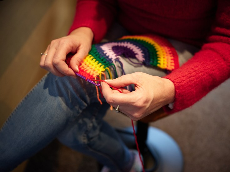 Crocheting a rainbow