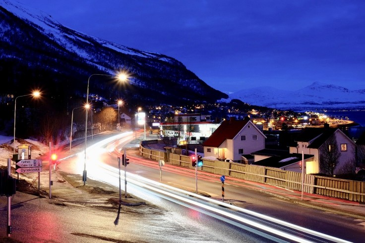 Light trails Norwegian night
