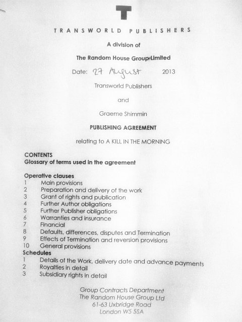 Guide to Literary Contracts: Contract Front Page
