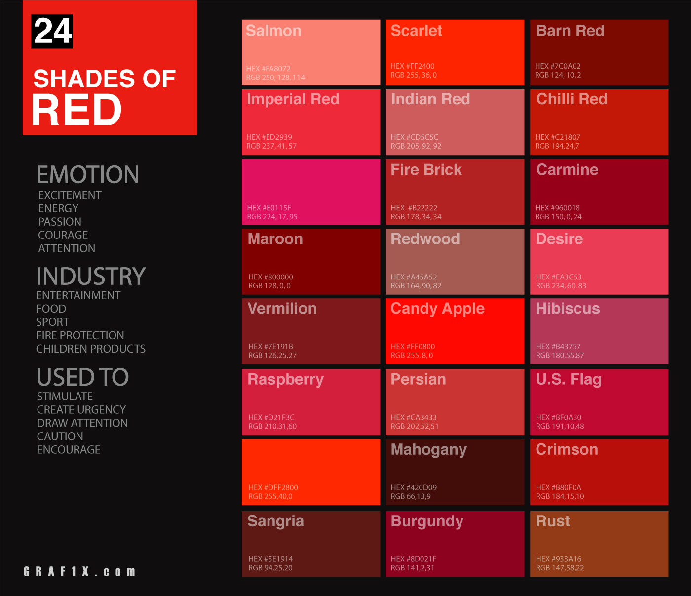 24 Shades Of Red Color Palette Graf1x