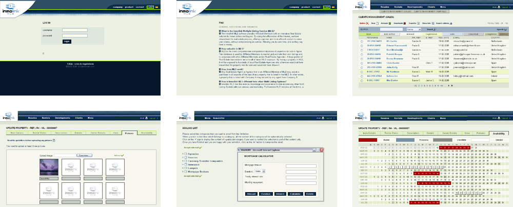 Inmolink intranet screenshots