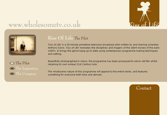 Website design for Kiss of life - 2000