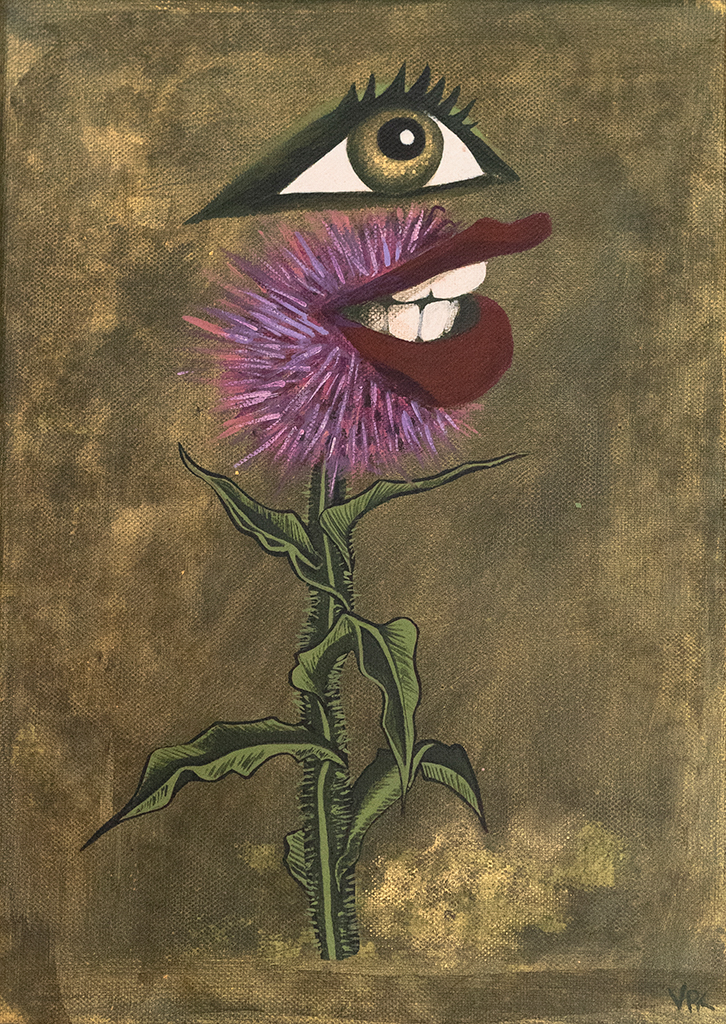 Painting of expectant milk thistle with eye and mouth
