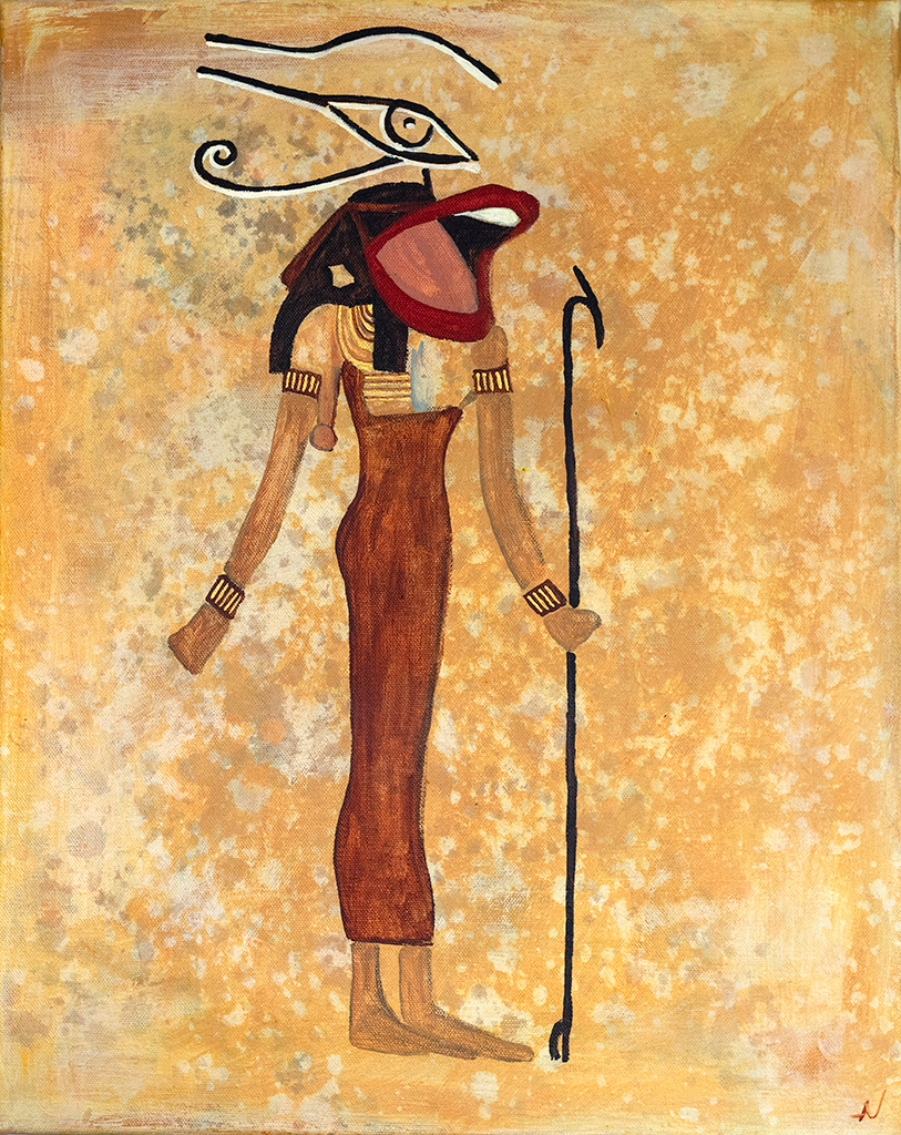 Painting of woman singing with a microphone in ancient egyptian style