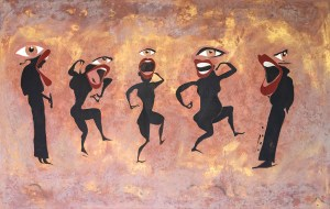 Painting of silhouetted women with big eyes and mouths dancing and singing