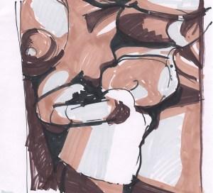 """""""Magnificum lacte III"""". Rotulador sobre papel, 19.8cm x 20.5cm, 2012"""
