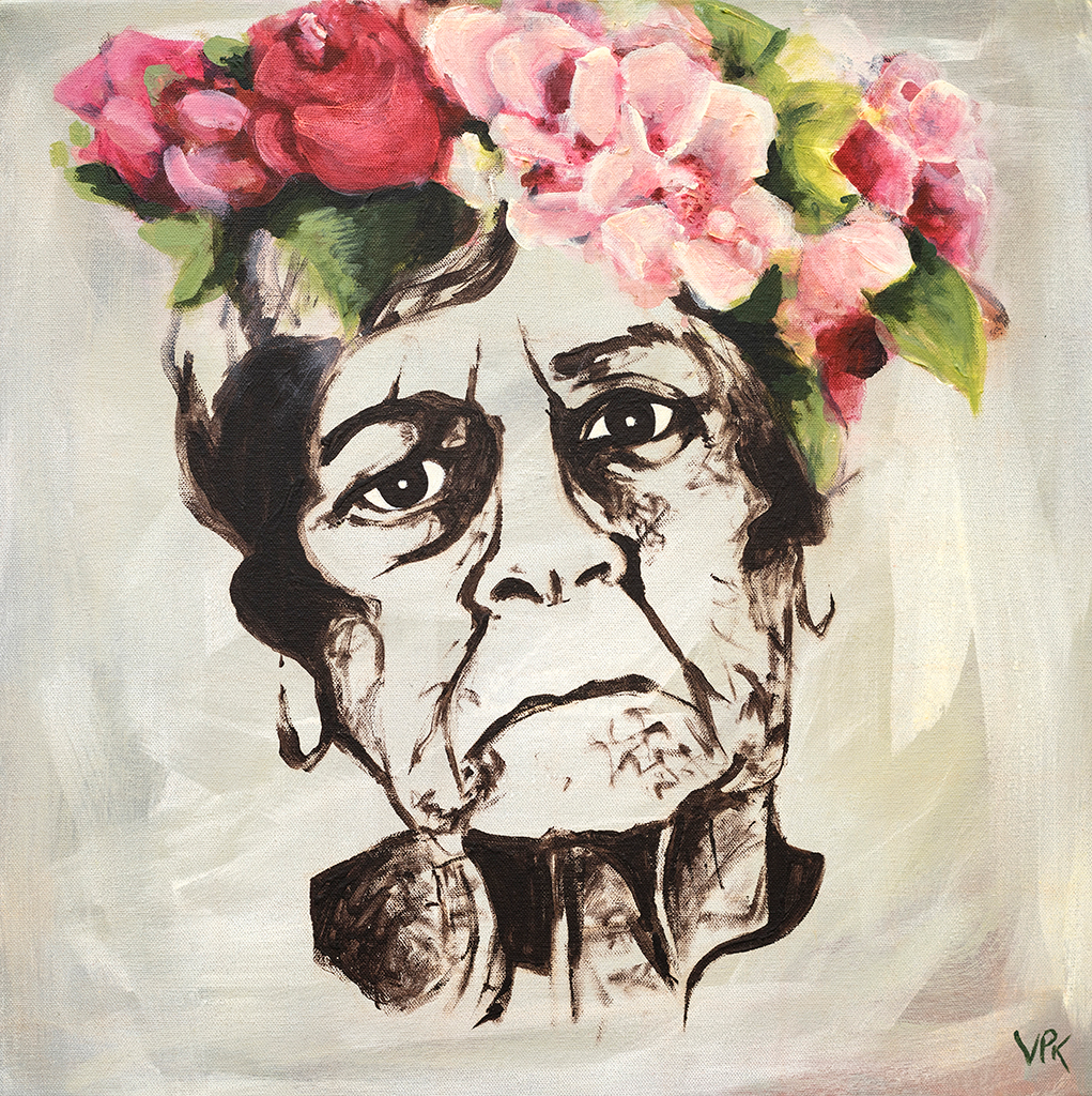 Painting of disappointed woman with flowers on her head
