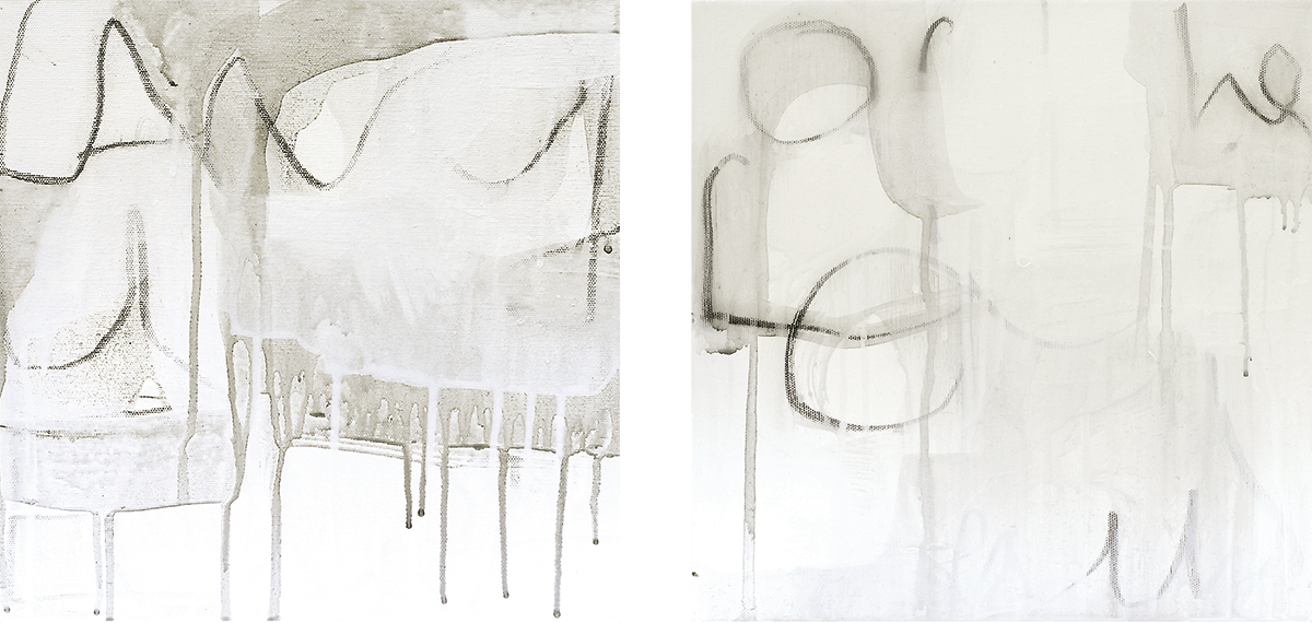 """""""Twins"""". Acrylic, pigment and charcoal on canvas, 30.5 x 30.5 cm each, 2006"""