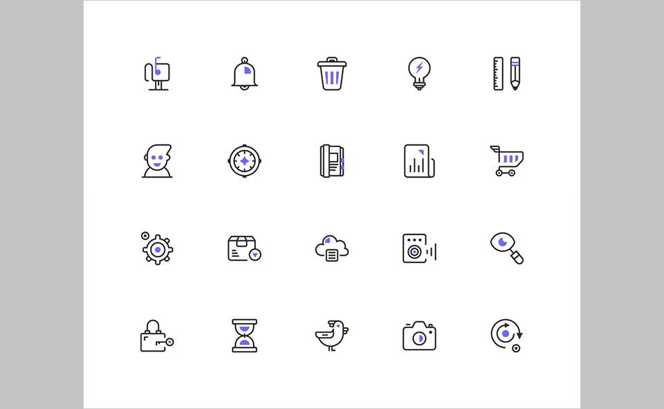 Los 20 Line UI Icons de Pavel Kozlov