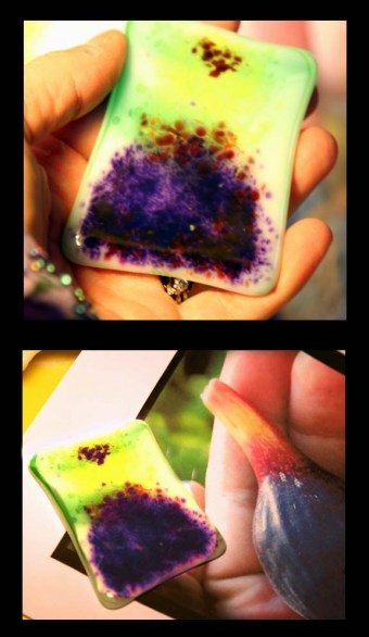 The fig glass in the first stages on the way to becoming a pendant
