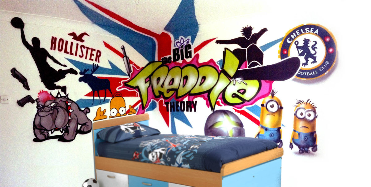Graffiti bedroom walls from a contemporary street artist for Graffiti style bedroom designs