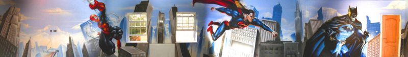 Spiderman, Batman, Superman, hero Graffiti