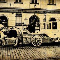 Krakowska dorożka koń dorożka woźnica stare zdjęcie