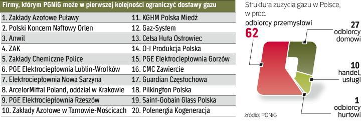 Koncerny przemysłowe zużywają prawie 2/3 gazu w Polsce. Najwięcej potrzebuje PKN Orlen.
