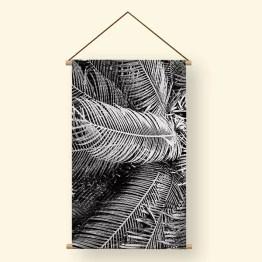 Textielposter zwarte palm bladeren