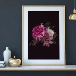Poster bloemen fleur goud