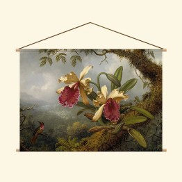 Textielposter Orchids and hummingbird