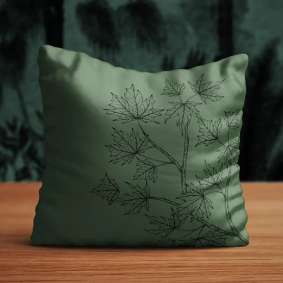 kussen eikelblad groen