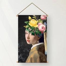 Textielposter bloemen meisje