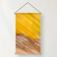 Textielposter geel blad
