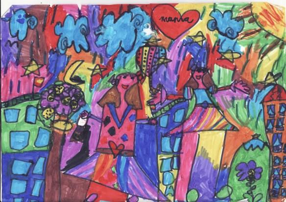 Dibujo de una niña de 6 años