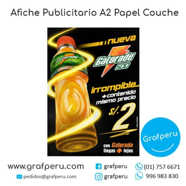 AFICHE PUBLICITARIO A2 COUCHE FULL COLOR ECONOMICO BARATO GRAFPERU LIMA PERU