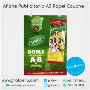 AFICHE PUBLICITARIO A3 COUCHE FULL COLOR ECONOMICO BARATO GRAFPERU LIMA PERU