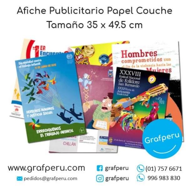 AFICHE PUBLICITARIO GRANDE COUCHE FULL COLOR ECONOMICO BARATO GRAFPERU LIMA PERU
