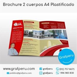 BROCHURE PUBLICITARIO 2 CUERPOS A4 PLASTIFICADO ECONOMICO GRAFPERU LIMA PERU BARATO