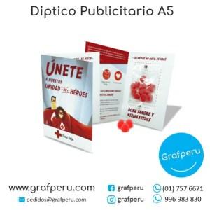 DIPTICO PUBLICITARIO A5 MEDIO A4 ECONOMICO GRAFPERU LIMA PERU BARATO