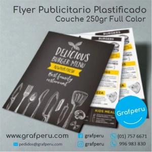 FLYER PLASTIFICADO COUCHE A6 PUBLICITARIOS ECONOMICOS GRAFPERU LIMA PERU