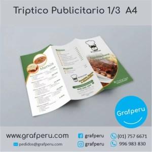 TRIIPTICO PUBLICITARIO 1 TERCIO DE OFICIO ECONOMICO GRAFPERU LIMA PERU BARATO